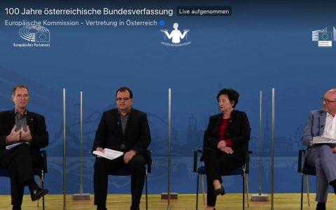 Veranstaltung zu 100 Jahre österreichische Bundesverfassung mit Maria Berger, Wolfgang Bogensberger, Friedrich Forsthuber und Hannes Tretter.
